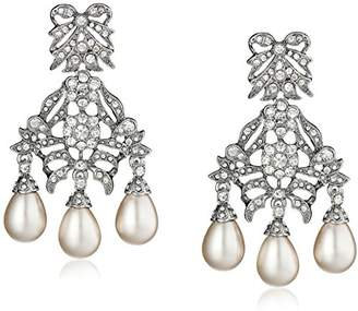 Kenneth Jay Lane Bride Simulated Cream Pearl Crystal Bowl Chandelier Dangle Drop Earrings