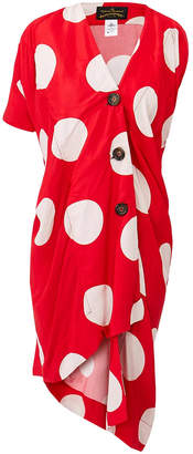 Vivienne Westwood Cloud Red Polka Dot Asymmetric Dress