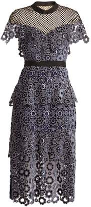 SELF-PORTRAIT Cut-out ditzy-lace and floral-embroidered dress