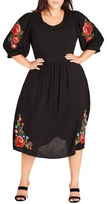 City Chic Sweetly Embroidered Dress