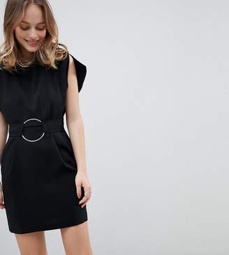 Asos Split Sleeve Cap Sleeve Mini Dress with Circle Belt