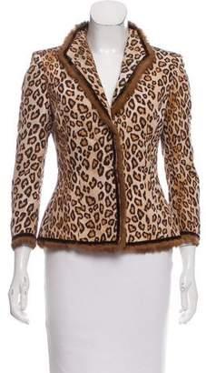Alexander McQueen Leopard Printed Fur-Trimmed Blazer