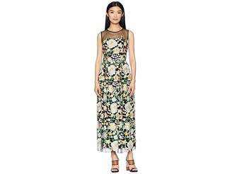 ML Monique Lhuillier Floral Embroidery Cocktail Dress with Mesh Yoke