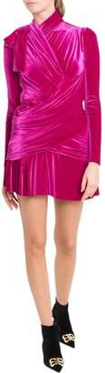 Balenciaga Draped Velvet Dress