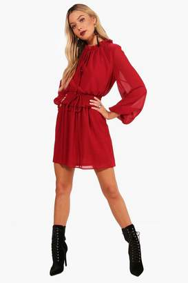boohoo Shirred Waist High Neck Skater Dress