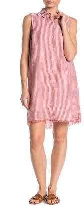 BeachLunchLounge Striped Linen Blend Button Down Shirt Dress