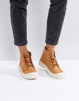 Palladium Pampa Hi Leather Tan Flat Ankle Boots