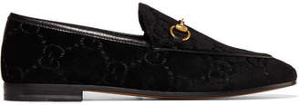 Gucci Jordaan Horsebit-detailed Leather-trimmed Logo-jacquard Loafers - Black