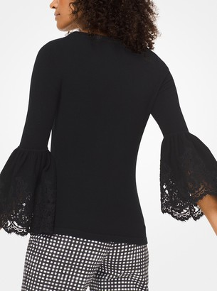Michael Kors Cashmere and Lace Bell-Cuff Pullover