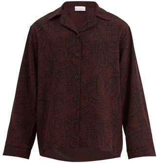 Raey Squiggle Print Silk Crepe Pyjama Shirt - Mens - Burgundy Print
