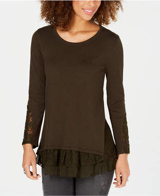 Style&Co. Style & Co Petite Lace Hem Tunic Sweater