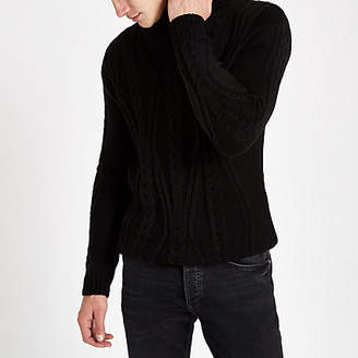 River Island Black chunky cable knit roll neck jumper
