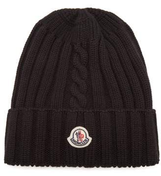 Moncler Ribbed Knit Wool Beanie Hat - Womens - Black