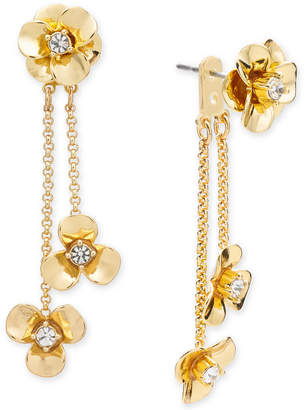 Kate Spade Gold-Tone Pave Flower Ear Jacket Earrings