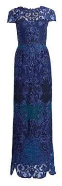 Marchesa Women's Scroll Lace Gown - Cobalt - Size 4