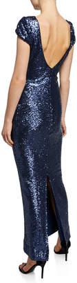 Dress the Population Teresa Scoop-Back Column Sequined Gown