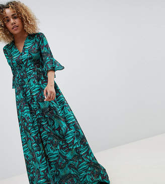 Glamorous Petite Maxi Smock Dress With Fluted Sleeves In Tropical Print