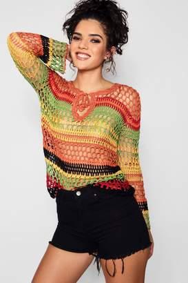 boohoo Eve Multi Coloured Striped Crochet Jumper