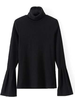 Goodnight Macaroon 'Ashlan' Ribbed Bell Sleeve Turtleneck Sweater (2 Colors)