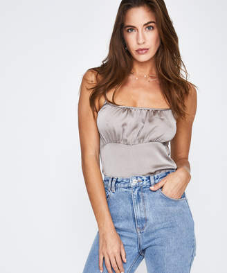 Alice In The Eve Bardot Ruched Slip Top Moss Grey