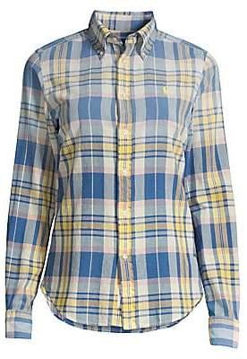 Polo Ralph Lauren Women's Georgia Madras Cotton Long-Sleeve Shirt