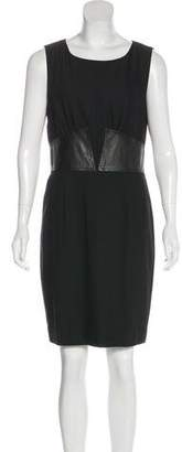 L'Agence Leather-Trimmed Sleeveless Dress