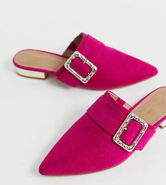 Asos Design DESIGN Wide Fit Mascot bamboo buckle pointed mules