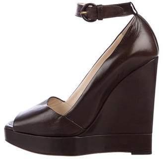Saint Laurent Leather Peep-Toe Wedges