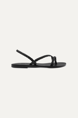 Ancient Greek Sandals Yianna Braided Leather Slingback Sandals - Black