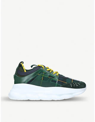 Versace Chain Reaction tartan leather trainers