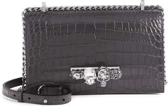 Alexander McQueen Croc Embossed Leather Crossbody Bag