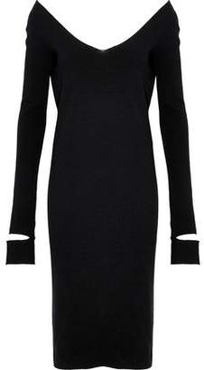 Helmut Lang Cutout Ribbed Wool-Blend Dress