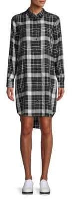 Plaid Curved-Hem Shirtdress