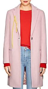 Mira Mikati Women's Flower-Appliquéd Wool-Blend Long Coat - Pink
