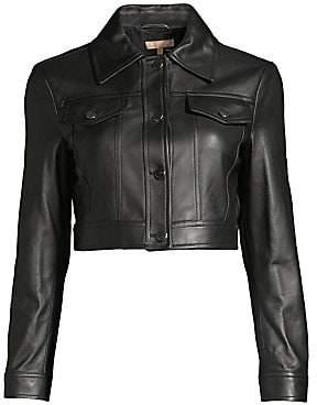 Michael Kors Women's Crop Leather Jacket - Size 0