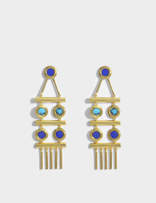 Lapis Tribal Statement Earrings in Gold-Plated Brass with Lazuli and Malachite