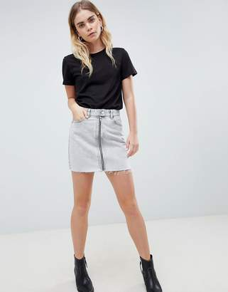 Dr. Denim Mini Skirt With Exposed Zip