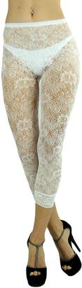 Blend of America ToBeInStyle Women's Floral Lace Nylon Leggings With Lace Trim Bottom