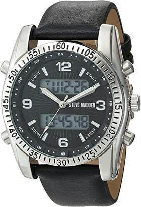 Steve Madden Men's SMW103 Analog-Digital Display Japanese Quartz Black Watch
