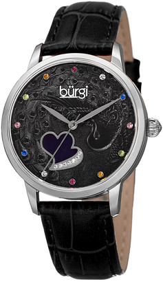 Burgi Women's Swarovski Crystal Accent Genuine Leather Watch