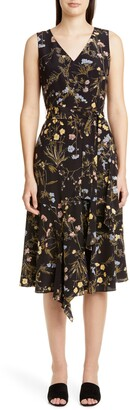 Lafayette 148 New York Floral Print Silk Dress