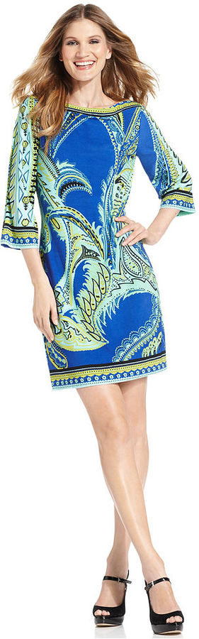 ECI Dress, Three-Quarter-Sleeve Printed Shift