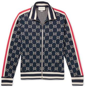 Striped Logo-Intarsia Cotton Track Jacket