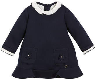 Mayoral Long-Sleeve Ruffle Dress with Patch Pockets, Size 6-36 months