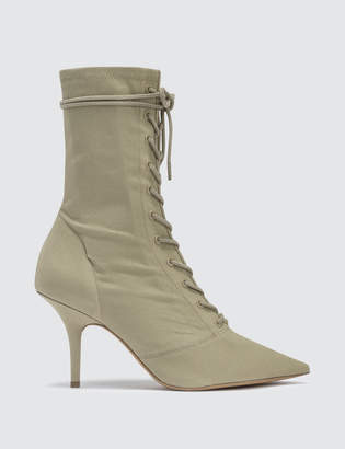 Yeezy Season 6 Women's Lace Up Ankle Boot In Stretch Canvas 90mm Heel