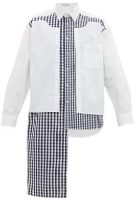 J.W.Anderson Asymmetric Gingham Cotton Poplin Shirt - Mens - Blue White