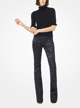 Michael Kors Floral Metallic Cloque Flared Trousers