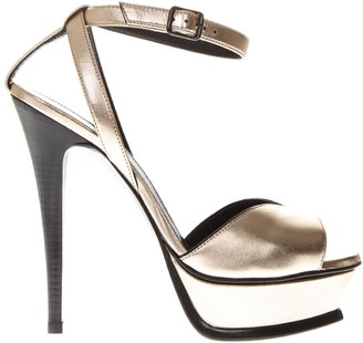 Saint Laurent Tribute Metallic Leather Sandals