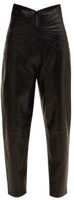 ATTICO Butterfly Waist Leather Trousers - Womens - Black