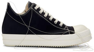 Rick Owens Black 2-Tone Stitch Sneakers